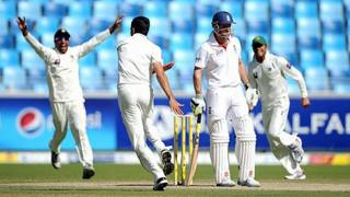 England captain Andrew Strauss is dismissed by Umar Gul of Pakistan