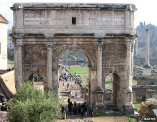 The arch of Septimius Severus in Rome
