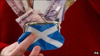 Purse with Scottish notes
