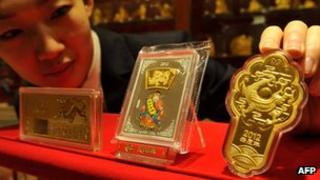 Gold bars on display in China