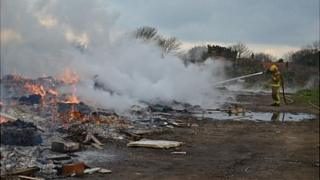 Out of control bonfire being dealt with by fire service in St Pierre du Bois, Guernsey