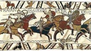 Norman cavalry charging on the Bayeux Tapestry