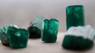 Raw Colombian emeralds (file photo, 2008)