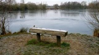 The frozen Witney Lakes