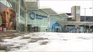 Birmingham Airport in the snow