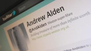 Reverend Andrew Alden's twitter profile on a computer screen