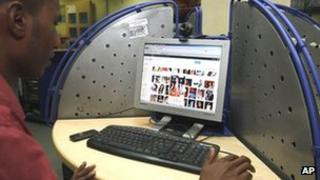 Internet user in Hyderabad, India, file pic