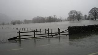 Flooding in the Conwy valley (picture Alison Barber)