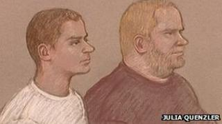Christian Emde and Robert Baum in court. Artwork: Julia Quenzler