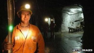 Miner inside the Mount Isa copper mine in Australia owned by Xstrata