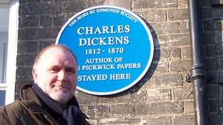 Martyn Taylor and the Charles Dickens plaque, Bury St Edmunds