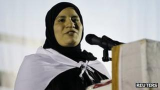 Fadheela al-Mubarak after her release (6 February 2012)