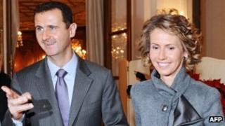 President Assad with wife Asma
