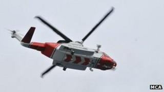 Coastguard helicopter. Pic: MCA