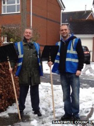 Snow champions Keith Woodhouse (left) and Matt Johnson in Sandwell. Photo: Sandwell Metropolitan Borough Council