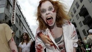 Woman dressed as a zombie