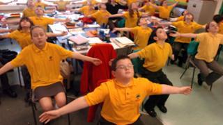 Children doing the exercises