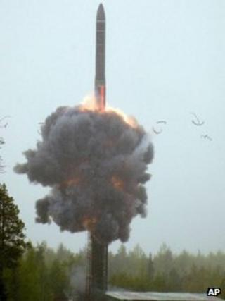 A missile launch at Plesetsk, Russia, 29 May 2007