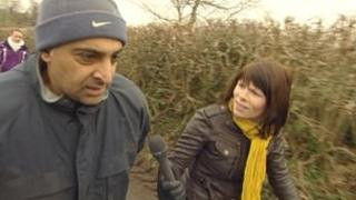 Harby Panesar is confronted by X-Ray reporter Rachel Treadaway-Williams