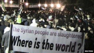 Photo posted online purportedly showing demonstrators gather in Homs to urge international action on Syria (10 February 2012)