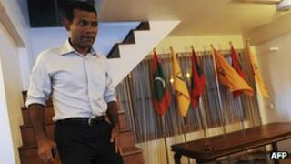Former president Mohamed Nasheed at his residence - 11 February