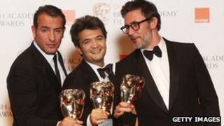 Jean Dujardin, Thomas Langmann and Michel Hazanavicius, star, producer and director of The Artist