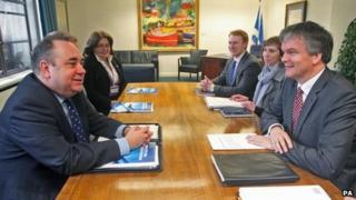 Alex Salmond and Michael Moore at meeting on independence referendum