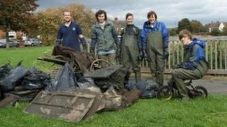Volunteers from the Living Waterways Project. Photo: Durham Wildlife Trust