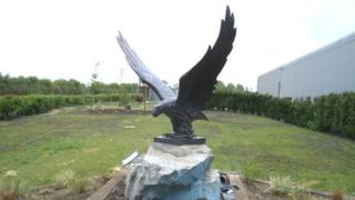 Bronze eagle statue at the Museum of Army Flying in Middle Wallop