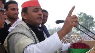 Akhilesh Yadav addresses a rally in Ambedkar Nagar