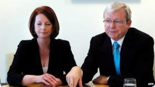 Julia Gillard and Kevin Rudd, pictured together on 7 August 2010
