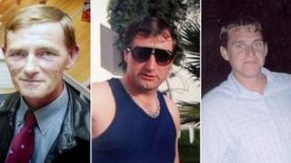 Left to right: Chris Waters, Colin Buckley and Darren Burgess. Photo given out by families after the incident