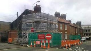 16 Finkelgate, Norwich, under scaffolding after subsidence caused excessive cracks