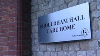 Shouldham Hall Care Home sign