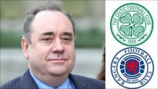 Alex Salmond and Celtic and Rangers crests