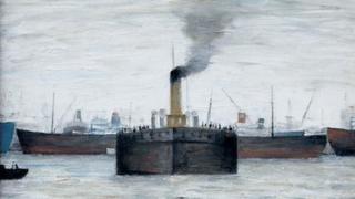Oil painting, The Ferry, South Shields produced by LS Lowry in 1967