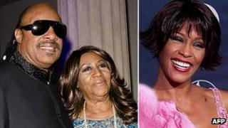 Stevie Wonder and Aretha Franklin alongside a 2000 photo of Whitney Houston