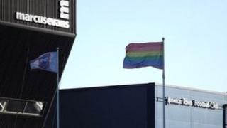Rainbow flag at Portman Road