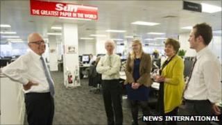 Rupert Murdoch in the Sun newsroom