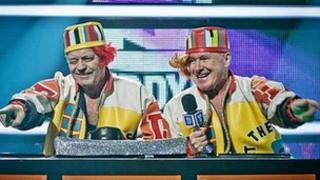 Tony Blackburn (left) and David Hamilton perform as Salt N Pepa