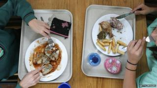 Girls eating school dinner