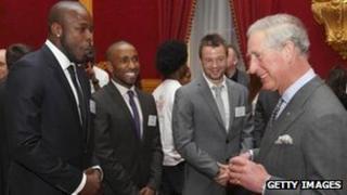 Prince Charles with footballers Danny Shittu, Jermain Defoe and Noel Hunt