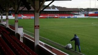 Groundsman paints touchline at Ebbsfleet United ground