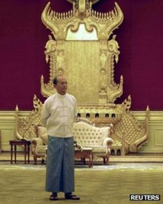 Burma's President Thein Sein at the Presidential Palace in Naypyitaw 13 February, 2012