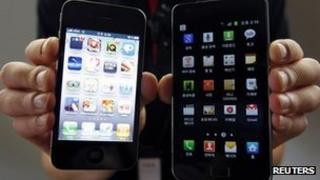 An iPhone and Galaxy S II 31 January 2012