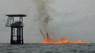 Gas-fuelled fire burning in the Atlantic Ocean, 10km off the Nigerian shore
