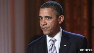 Barack Obama addresses the audience at the White House, Washington, DC 21 February 2012.