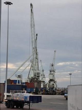St Peter Port Harbour's cranes in Guernsey