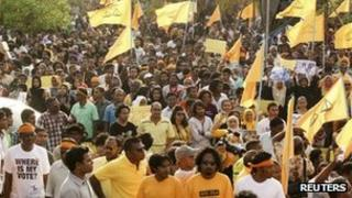 Supporters of former Maldivian president Mohamed Nasheed attend a rally in Male