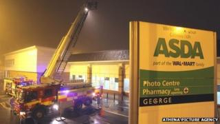 Fire engines at Asda in Llanelli